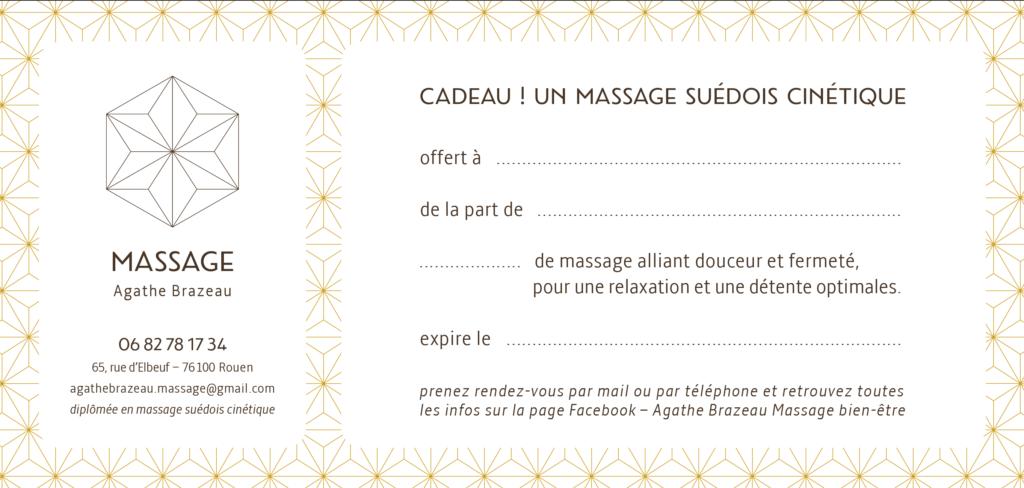 carte cadeau 65 rue d'elbeuf 76100 Rouen Massage Agathe